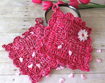 Red Pink Pot Holders, Valentines Gift, Pot Holders, Crochet Coasters, Kitchen Pot Holders, Drink Coasters, Gift for her, Mothers Day Gift