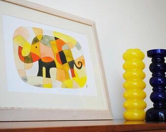 Éléphant 1 - BIG moderne Art Print pépinière Art Print Mid Century Modern rose jaune moutarde orange noir 11 x 16