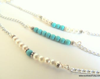 Turquoise Bar Bracelet, Turquoise and Pearl, Individually or as a Set of 3