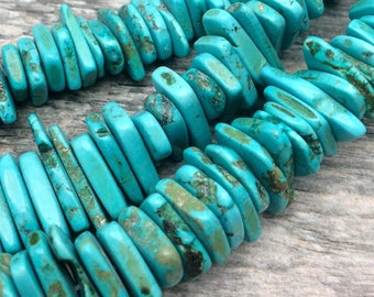Enormous Semi Precious Turquoise Gemstone Chunky Nugget Chip Beads 25x3mm