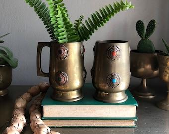 vintage brass tankards with cabochon detailing boho chic stein mug
