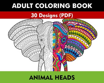 Coloring Book for Adults - Animal Heads (PDF)