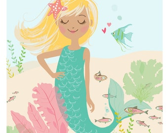 mermaid wall art - blond hair mermaid, Nursery art decor for girls