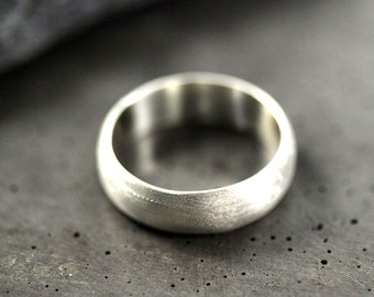 Men's Wedding Band, Matte 6mm Wide Half Round Brushed Unisex Recycled Metal Argentium Sterling Silver Ring Men's Ring - Made in Your Size