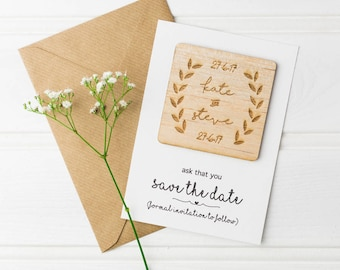 Wooden Save The Date Magnets - Grecian Wedding - Rustic Wedding - Save the Date Cards - Save the Date Magnet - Wedding Stationery - Woodland