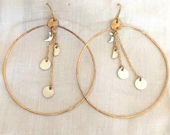 Moon Phase Earrings, Goddess Earrings, Hoop Earrings, Moon Cycle