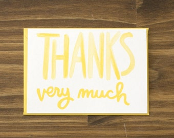 bright yellow thank you blank card