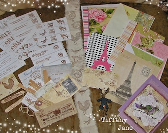 TiffanyJane-There's a Song in the Air- Papier Set-Paper tags-home decor-Mixed media-Art Collage-Vintage Style Keepsakes-Paper goods