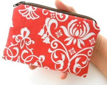 Coin Purse ECO Friendly Padded Little Zipper Pouch Coral Bliss