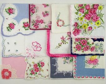 Vintage Hanky Lot,Vintage Lot of Handkerchiefs,Vintage Hanky Lot of One Dozen Assorted Mostly Pink Vintage Hankies Handkerchiefs (Lot #C14)