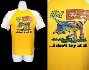 """Vintage 1978 """"I'm #3 ... I don't try at all!"""" KEVIN'S KASUALS Rugby T-Shirt Prints by ROACH """"Bobby"""" & """"Shawn"""" Youth Size L"""