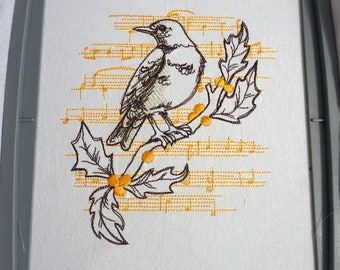 Bird Song Pattern Flour Sack Towel