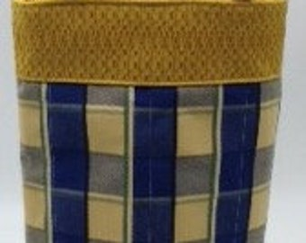 Wine Bottle Tote Bag - Blue and Gold Plaid