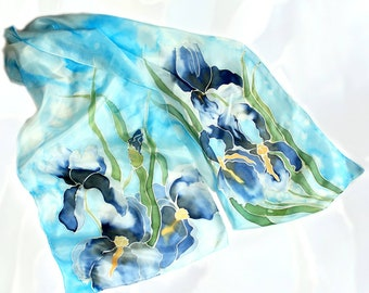 Pure Silk Scarf, Hand Painted Silk Scarf, Floral Silk Scarf, Purple Iris Flowers on Silk, Long Summer Scarf, Womens Summer Silk Accessory