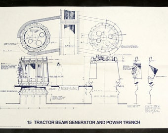 Vintage Star Wars Blueprint for Tractor Beam Generator and Power Trench (15) - Collectible, Home Decor, altered art and more