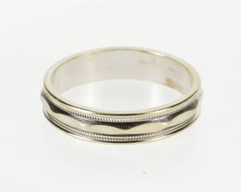 14K Pattern Grooved Pressed Design Men's Wedding Ring Size 11.25 White Gold
