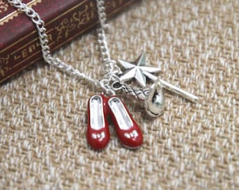 Dorothy Gale Wizard Of OZ Ruby Slippers Necklace Wand Witch christmas gift secret santa