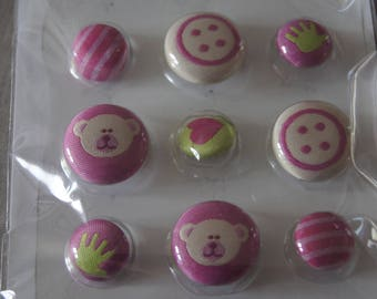 Set of 9 buttons embroidered baby girl birth Artemio