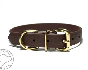 """Biothane Dog Collar - Dark Chocolate Brown 1"""" (25mm) Wide - Leather Look and Feel - Adjustable Custom Size - Stainless or Brass Hardware"""