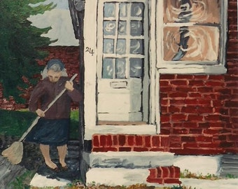 "Acrylic Painting Art PRINT ""Cleaning Day"",Fine Art,Woman sweeping,Brick house,Art wall decor,Room deccor ,Patty Fleckenstein"