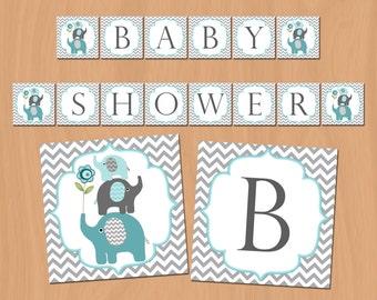 Boy Baby Shower Banner Elephant Baby Shower Decorations elephant baby shower decor (57)