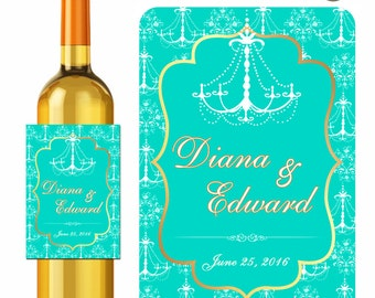 Chandelier Damask Wine Labels Personalized Stickers Wedding Monogram Formal Gold Teal - Waterproof Vinyl 3.5 x 5 inch