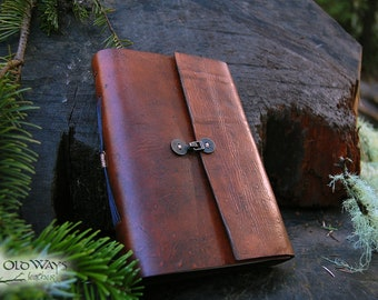 Medium brown leather journal with antique brass clasp