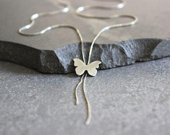 Silver Y necklace, Lariat necklace, dainty butterfly necklace sterling silver lariat necklace.