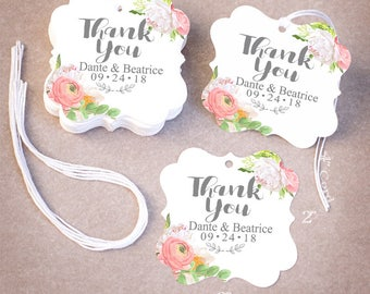 THANK YOU Wedding Tags Personalized | 25,50,75,100,200 Wedding Favor Tags | Floral Peonies