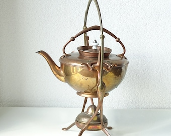Antique WMF Copper(plate) Teapot and Warmer on Stand