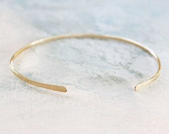 Gold Bangle Cuff Bracelet , thin gold bangle, gold cuff bracelet, adjustable gold bangle bracelet, gold jewelry