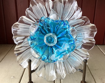 "Repurposed Glass Flower, Sun Catcher Glass Garden Art - ""Helena"" Mikasa & MURANO Sky BlueCrystal Glass Flower, Made from Glass Plate"