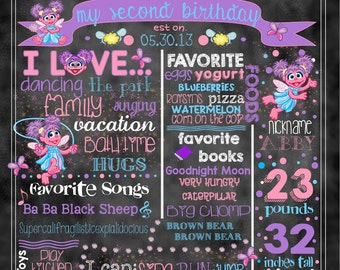 """Abby Cadabby Birthday Stat """"Chalkboard""""(digital poster) WITH or WITHOUT Elmo (2 Photos)"""