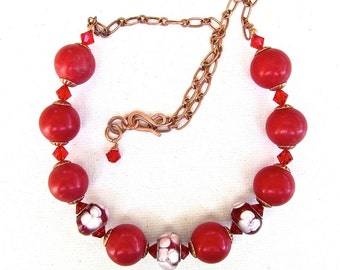 Red Magnesite remstones Necklace, Red White glass, red Swarovski crystals, copper necklace