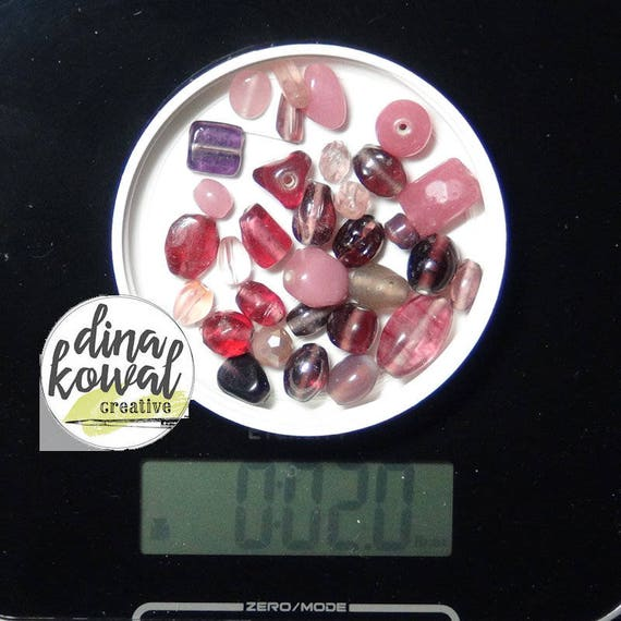 Destash - 2 oz. quality glass bead mix - pink purple