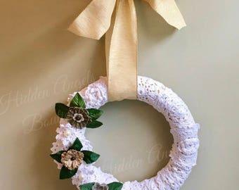 Crocheted Doilies Wreath, Shabby Chic Wreath, Housewarming Gift
