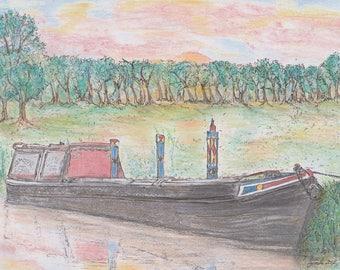 Old Fashioned Narrowboat Print. - Narrowboat at Sundown - Canal -  river -  Waterways -  Workingboat - sunset - Print - Signed Print -
