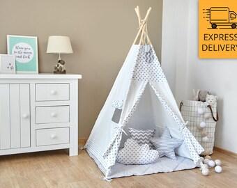Tipi Set - Kids Play Tent Teepee - Tiny Grey Dots