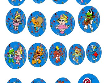 Cake Toppers Set 113A-Digital Clipart-Muppet-Happy Birthday-Confetti-Gift Tag-Party-Notebook-Scrapbook-Holidays-Banner-Background-Gift Card.