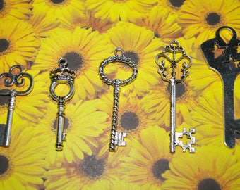 set of 5 key charms silver 4.4 to 6.3 cm # 3