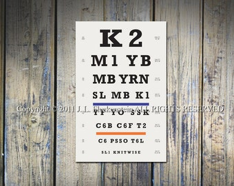 Knitter's Eye Chart (TM) Knitter Gift Idea As Seen in Vogue Knitting and Interweave Knits Holiday Gifts 2011 12 x 18 Inch Print