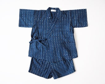Baby Jinbey, Jinbei, Kimono for babies, INDIGO PLUIE ENFANT, hand block printed fabric from India, made in France