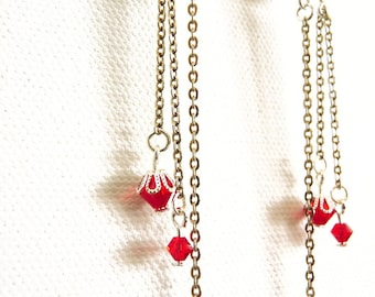 Red Sparkle Silver Chain Earrings