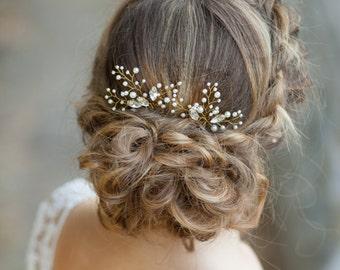 Bridal hair pins Wedding hair pins Pearl hair pins with rhinestones Crystal hair pins Set of 2 pearl hair pins Gold bridal hair pins