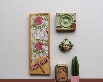 wall art collage - a 3 piece wall collage - Garden Goddess - plinth block -colorful flair