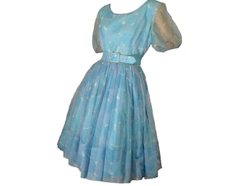Vintage 50s Garden Party Dress Sheer Blue Floral Nylon Jonathan Logan As Is