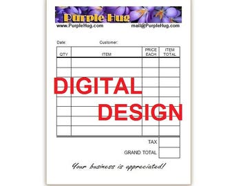 Sales receipt DIGITAL design - Invoice pad layout - Order receipt, order pad - Craft sale receipt - Custom, personalized - DESIGN only