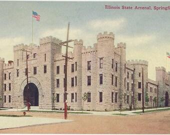 Illinois State Arsenal Springfield Vintage Postcard circa 1910 (unused)