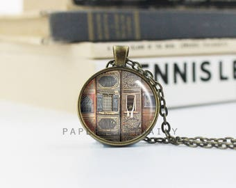 Library Necklace - Library Pendant - Librarian Gift - Book Necklace - Book Pendant - Old Books Photo - (B3350)