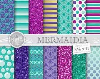 Mermaid Digital Paper Downloads | Printable Patterns | Mermaid Party Digital Paper Patterns | 8 1/2 x 11 Printable Scrapbook
